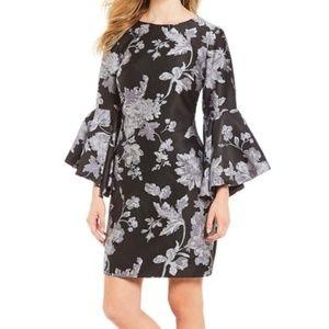 Badgley Mischka Jacquard Bell Sleeve Dress